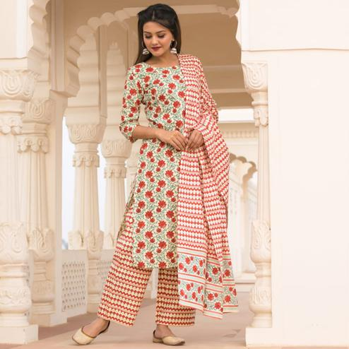 Demanding Off White-Red Colored Casual Wear Printed Knee Lenght Cotton Kurti-Pant Set With Dupatta