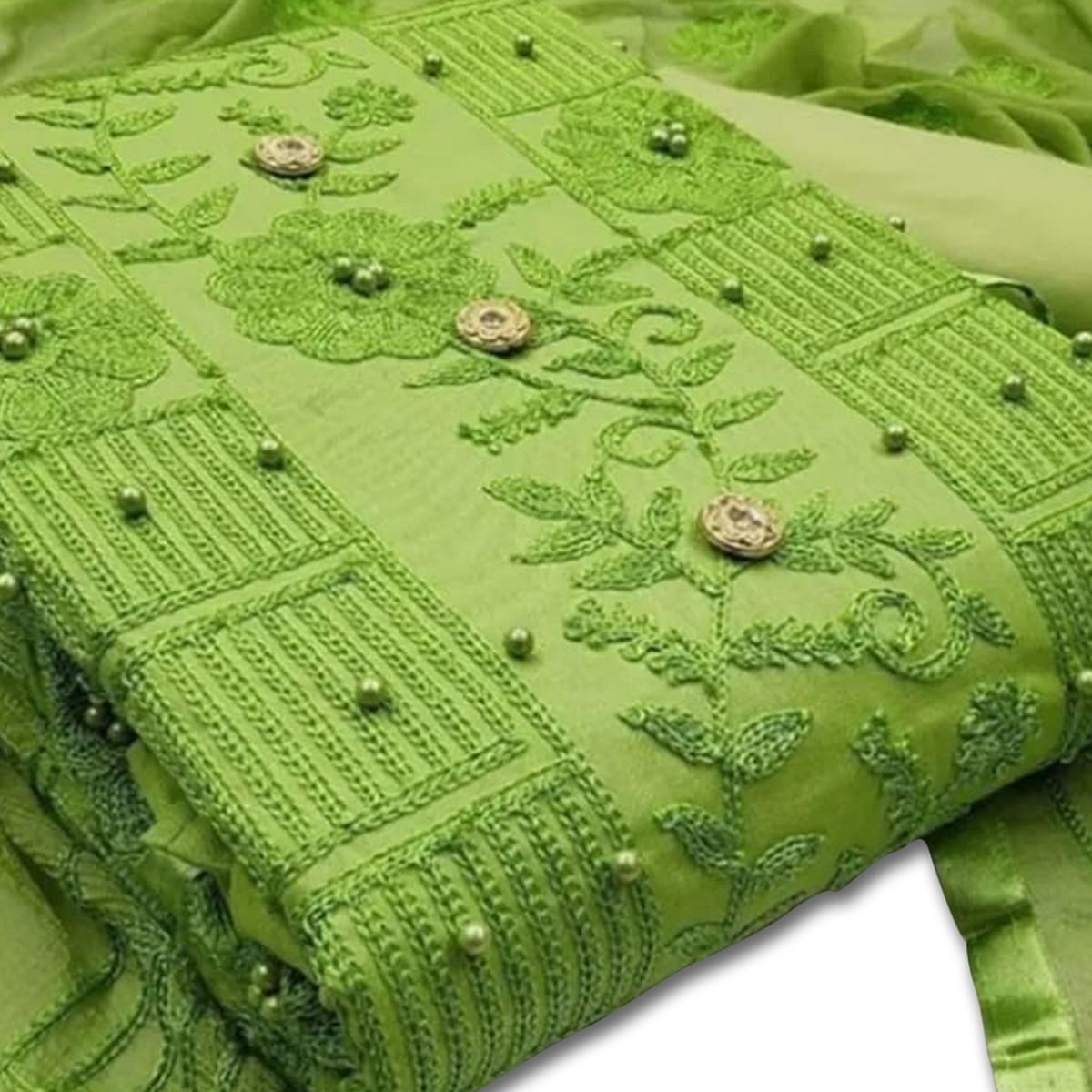 IRIS - Green Colored Party Wear Embrodiered Work Cotton Dress Material
