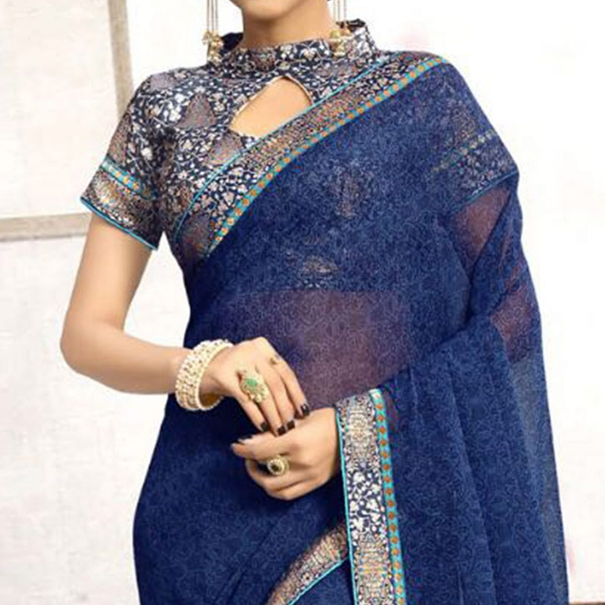 Adorable Blue Casual Printed Wear Faux Georgette Saree