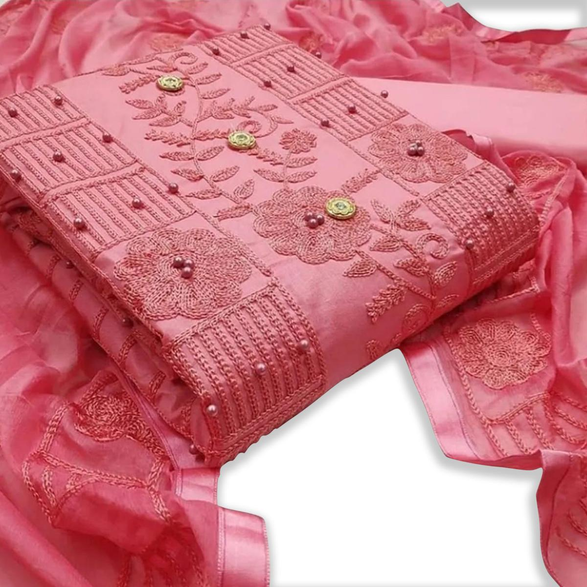 IRIS - Pink Colored Party Wear Embrodiered Work Cotton Dress Material