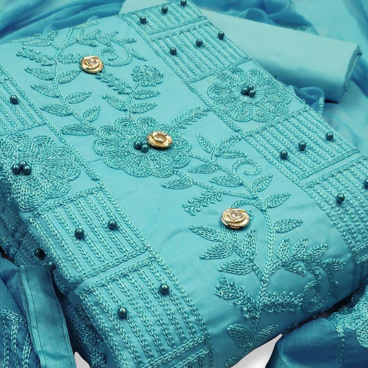 IRIS - Blue Colored Party Wear Embrodiered Work Cotton Dress Material