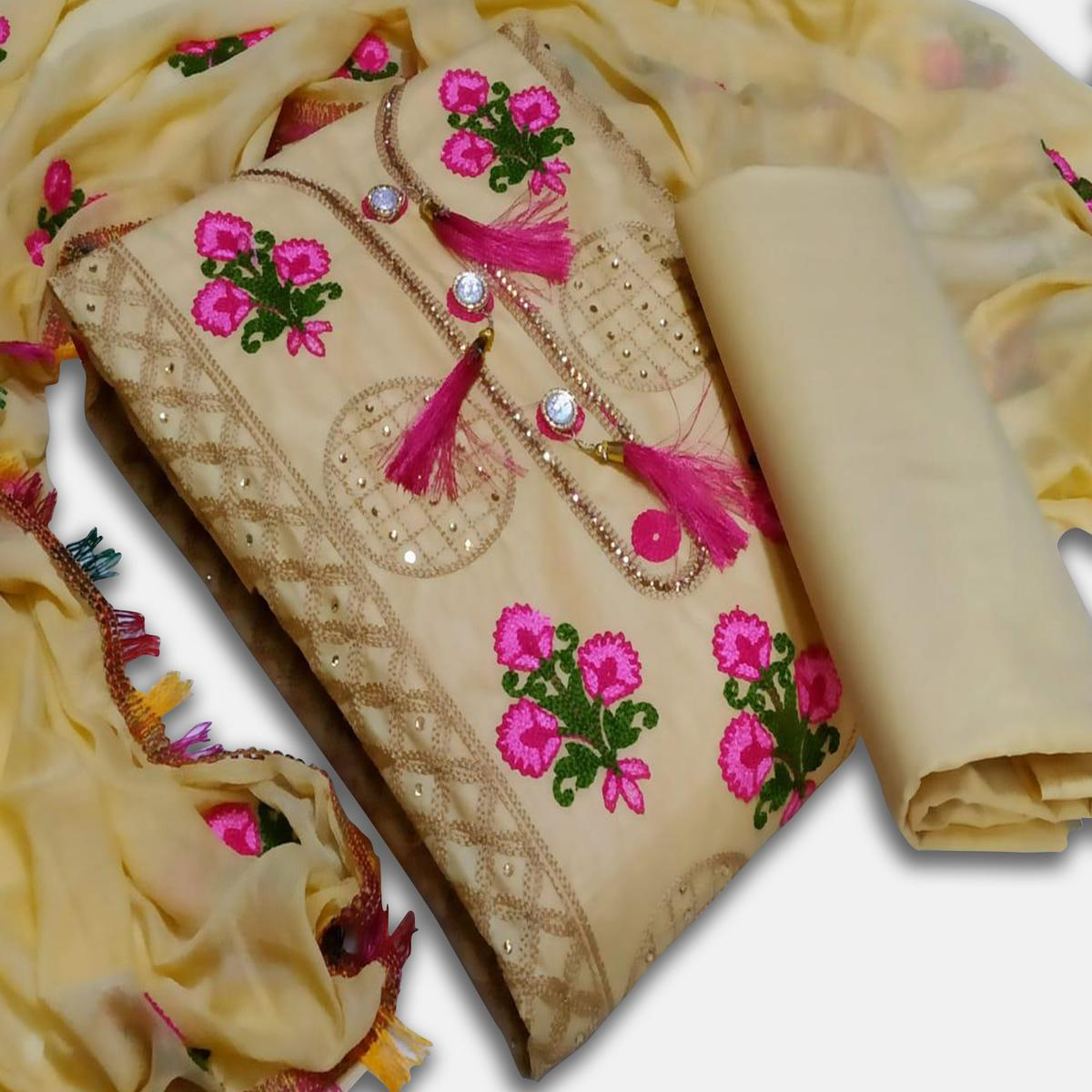 IRIS - Cream Colored Party Wear Floral Embrodiered Work Cotton Dress Material