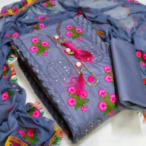 IRIS - Grey Colored Party Wear Floral Embrodiered Work Cotton Dress Material