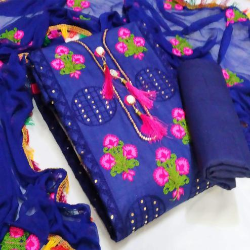 IRIS - Navy Blue Colored Party Wear Floral Embrodiered Work Cotton Dress Material