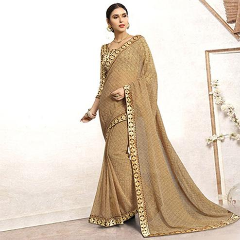 Beautiful Beige Casual Printed Wear Faux Georgette Saree