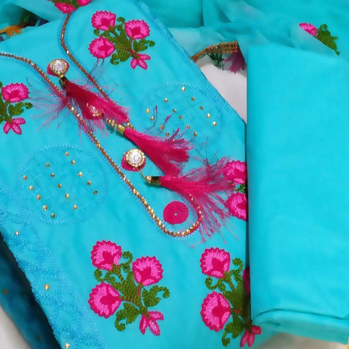 IRIS - Sky Blue Colored Party Wear Floral Embrodiered Work Cotton Dress Material