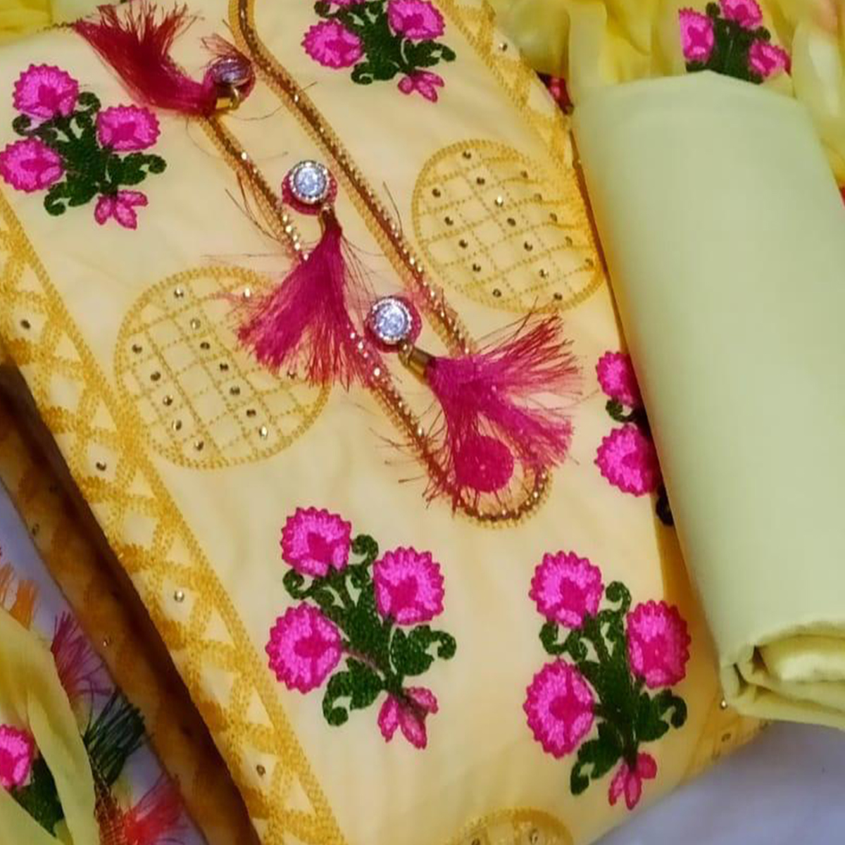IRIS - Yellow Colored Party Wear Floral Embrodiered Work Cotton Dress Material