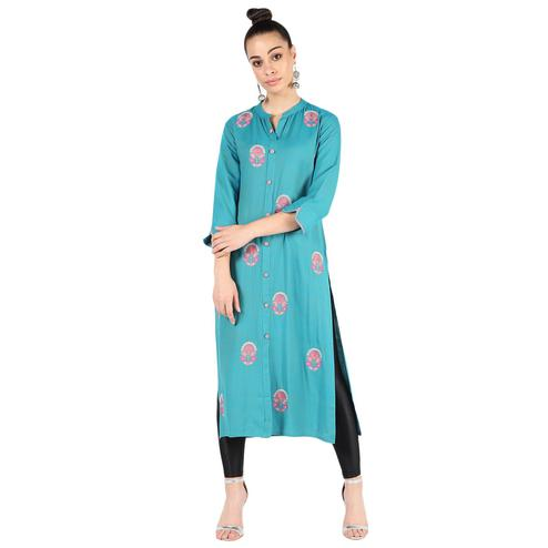 Vastrakaar - Blue Colored Casual Floral Embroidered Rayon Kurti