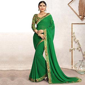 Green Casual Printed Wear Faux Georgette Saree