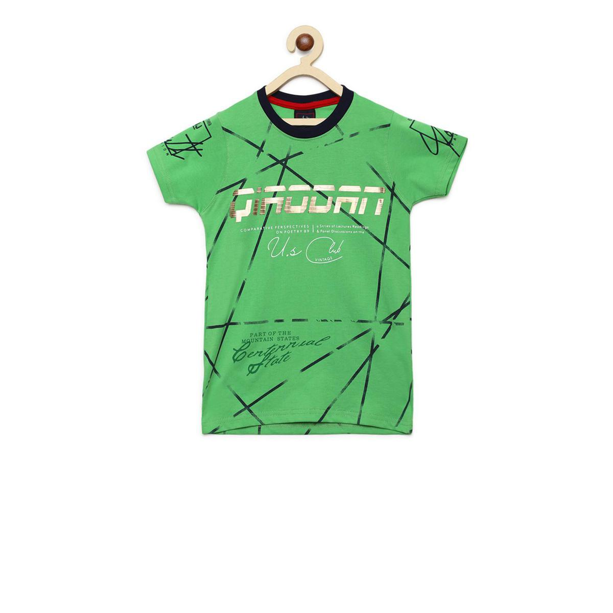 Fabnest - Green Colored Casual Round Neck Graphic Print Cotton T-shirt For Boys
