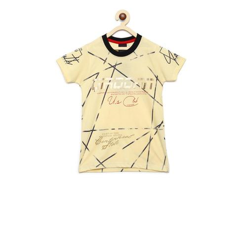 Fabnest - Yellow Colored Casual Round Neck Graphic Print Cotton T-shirt For Boys