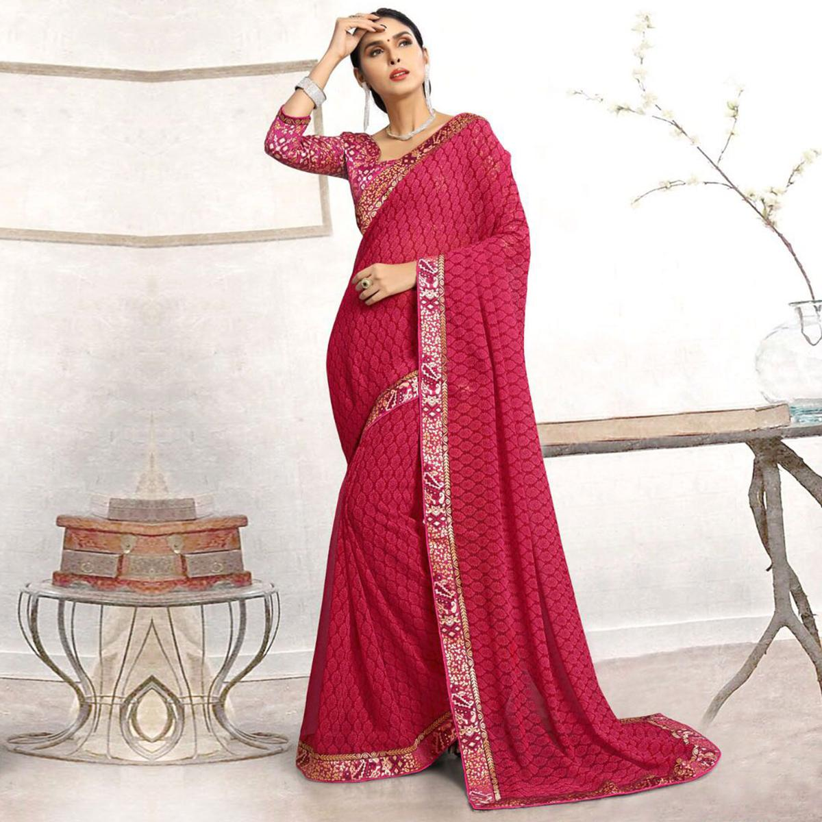 Lovely Pink Casual Printed Wear Faux Georgette Saree