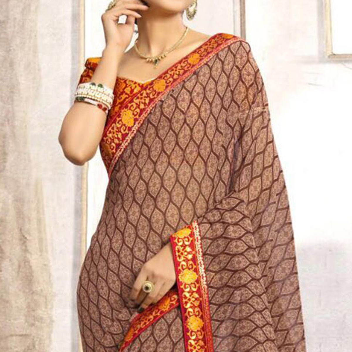 Stunning Brown Casual Printed Wear Faux Georgette Saree