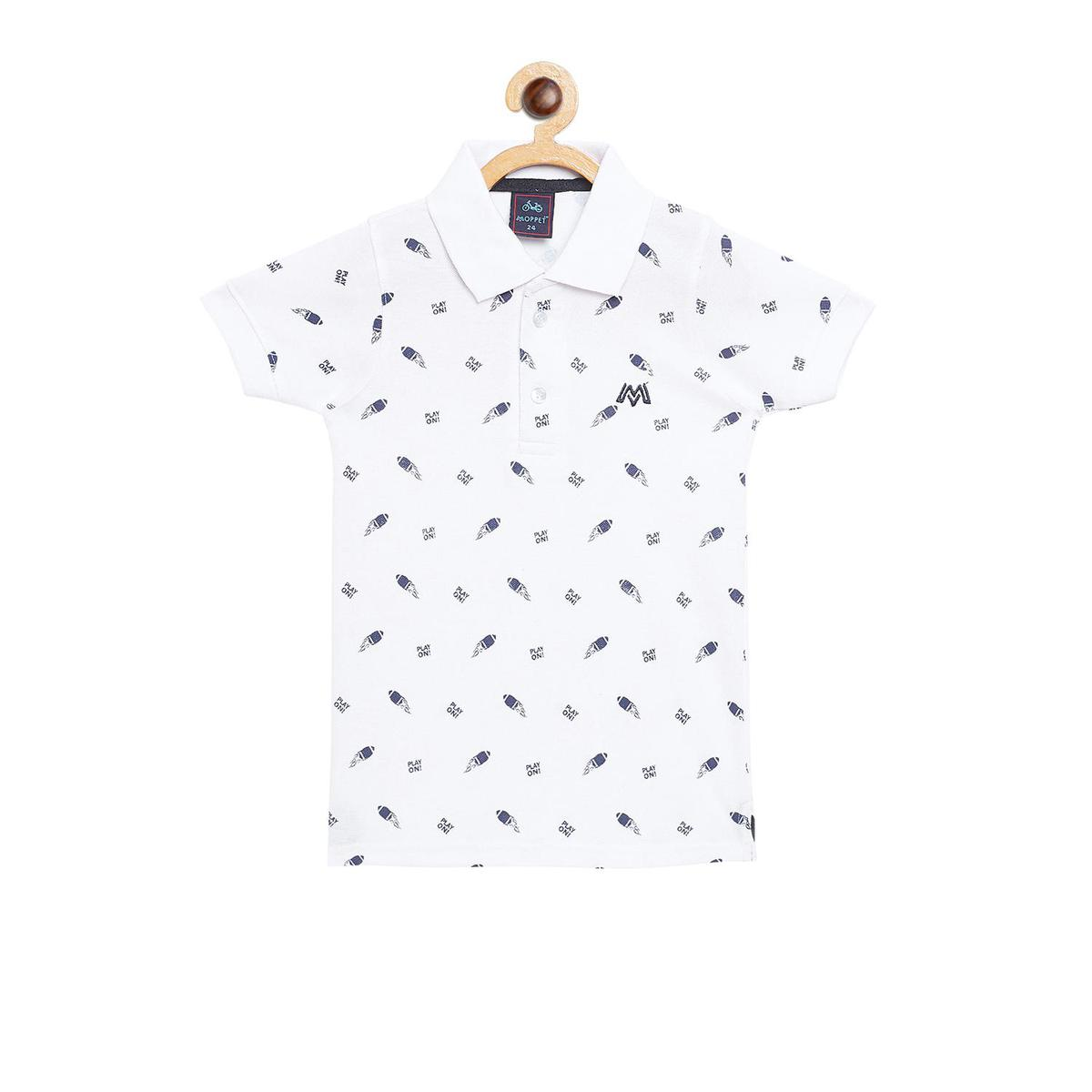 Fabnest - White Colored Casual Polo Neck Quirky Cotton T-shirt For Boys