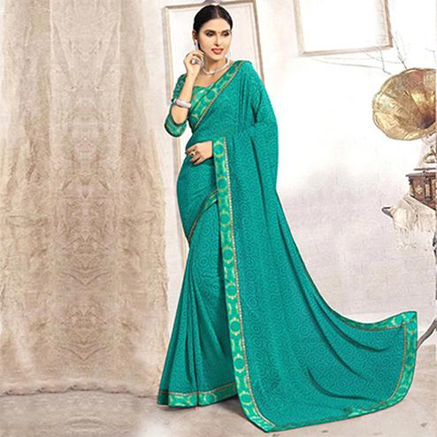 Turquoise colour Casula Printed Faux Georgette Saree
