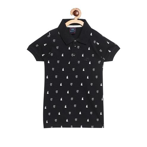 Fabnest - Black Colored Casual Polo Neck Quirky Cotton T-shirt For Boys