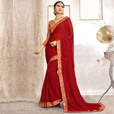 Elegant Red Casual Printed Faux Georgette Saree