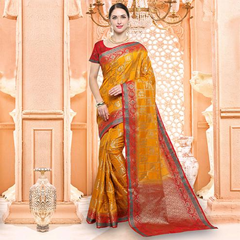 Sizzling Orange Traditional Raw Silk Saree
