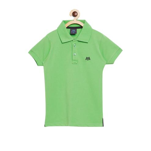 Fabnest - Green Colored Casual Polo Neck Short Sleeve Cotton T-shirt For Boys