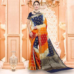 Amazing Multicolored Festive Wear Silk Woven Saree