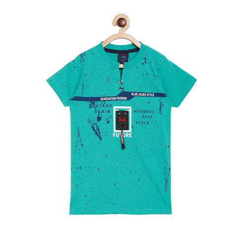 Fabnest - Green Colored Casual Henley Neck Graphic Cotton T-shirt For Boys
