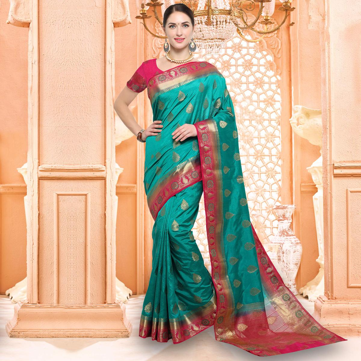 Rich Turquoise Blue Designer Raw Silk Saree