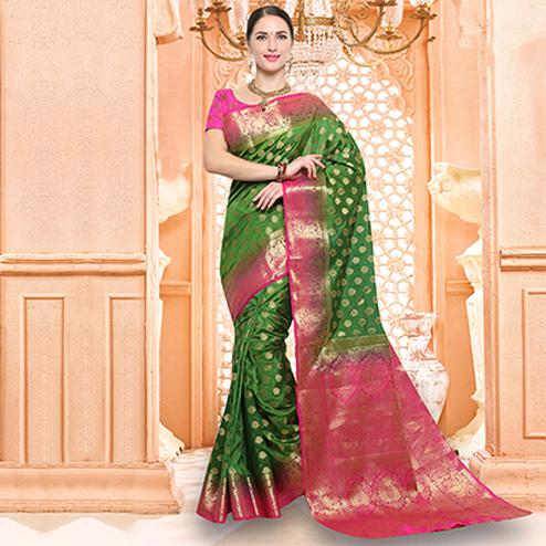 Beautiful Green Festive Wear Raw Silk Saree