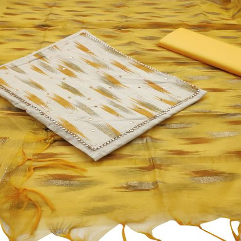 Attractive Offwhite - Yellow Colored Casual Wear Printed Khadi Dress Material