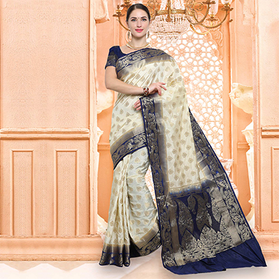 Adorable Offwhite Traditional Wear Raw Silk Saree