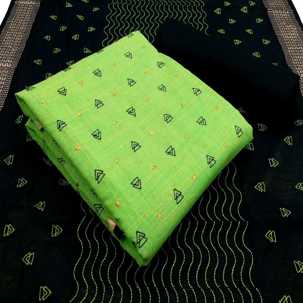 Charming Green Colored Partywear Embroidered Cotton Dress Material