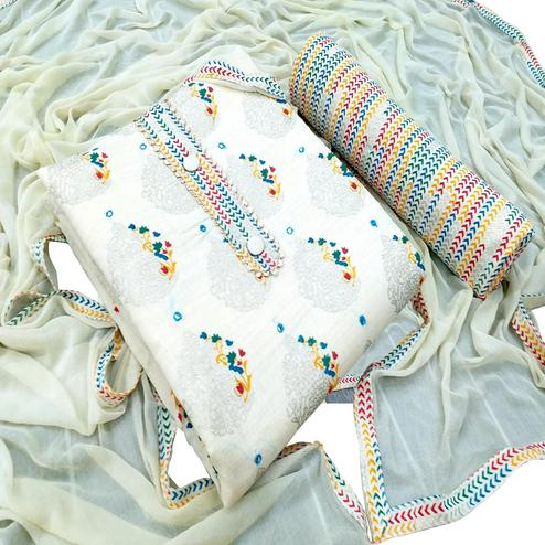Excellent White - Firozi Colored Partwear Embroidered Khadi Dress Material