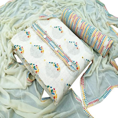 Preferable White - Yellow Colored Partwear Embroidered Khadi Dress Material