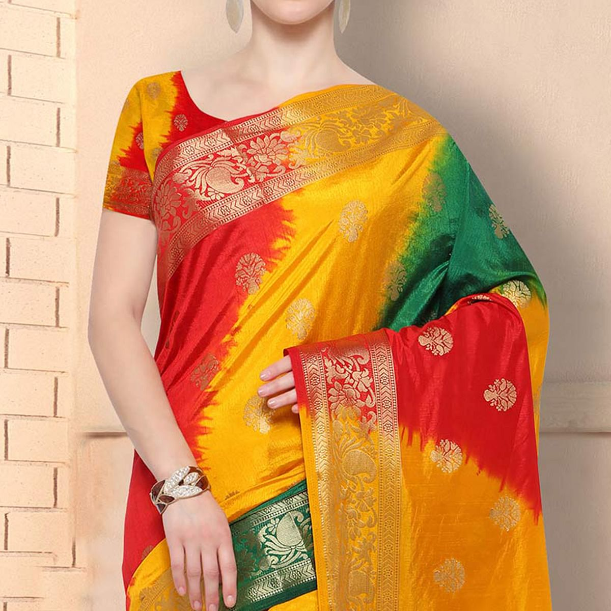 Classy Multicolored Festive Wear Raw Silk Saree
