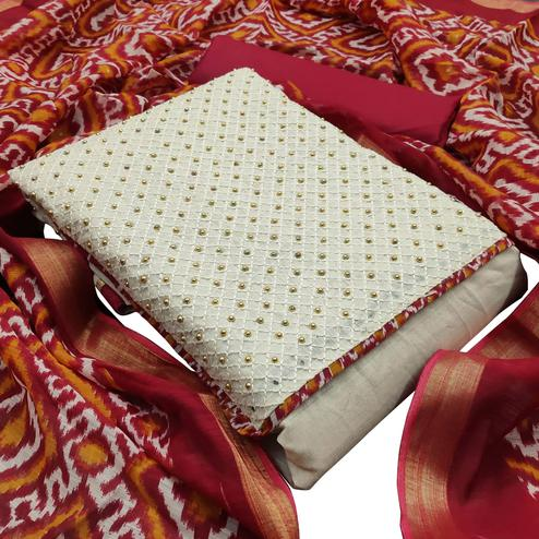 Blissful Red Colored Partywear Embroidered Khadi Silk Dress Material