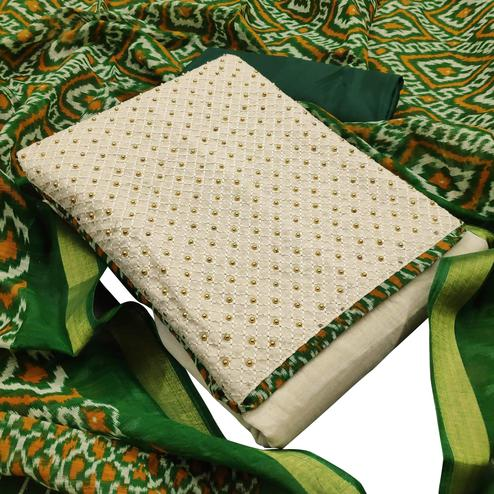 Imposing Green Colored Partywear Embroidered Khadi Silk Dress Material