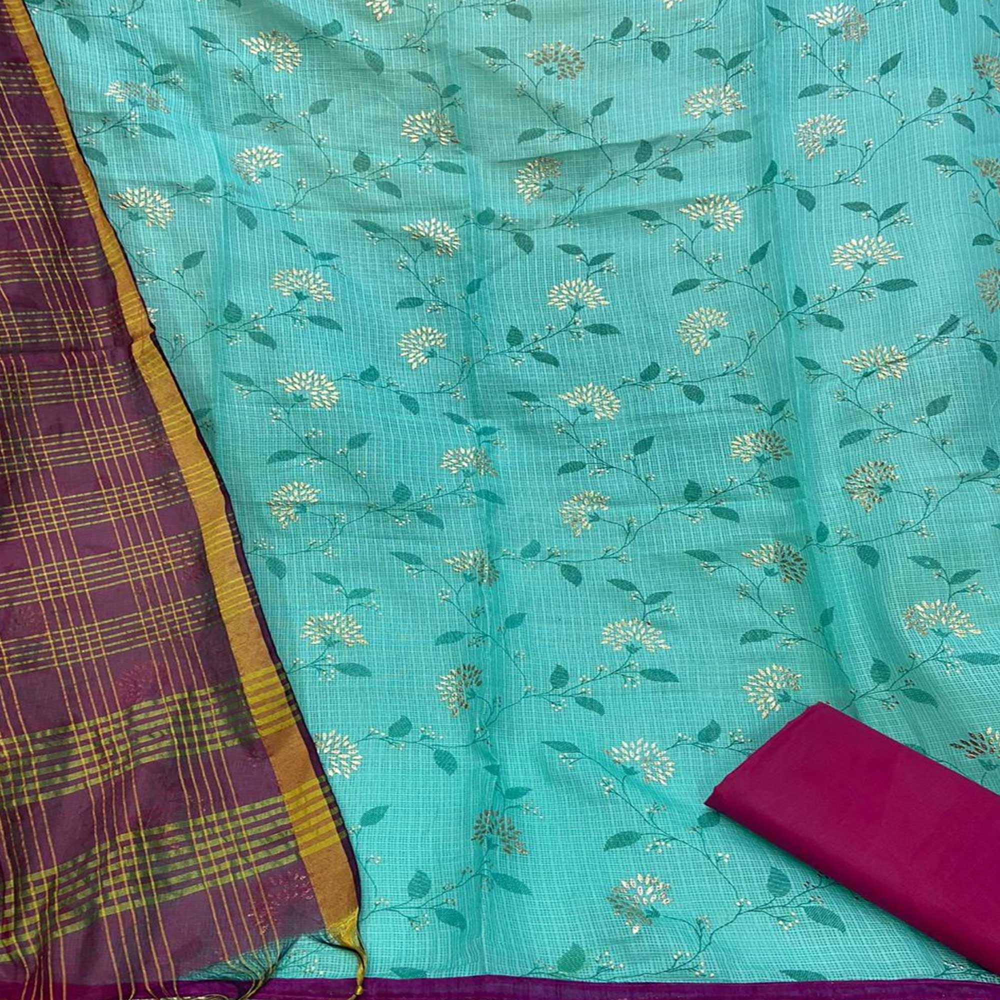 Majesty Aqua Blue Colored Partywear Embroidered Kota Silk Dress Material