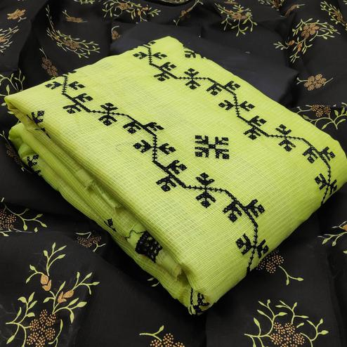 Staring Green Colored Partywear Embroidered Kota Silk Dress Material