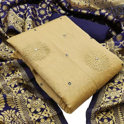 Intricate Beige - Blue Colored Partywear Embroidered Chanderi Silk Dress Material