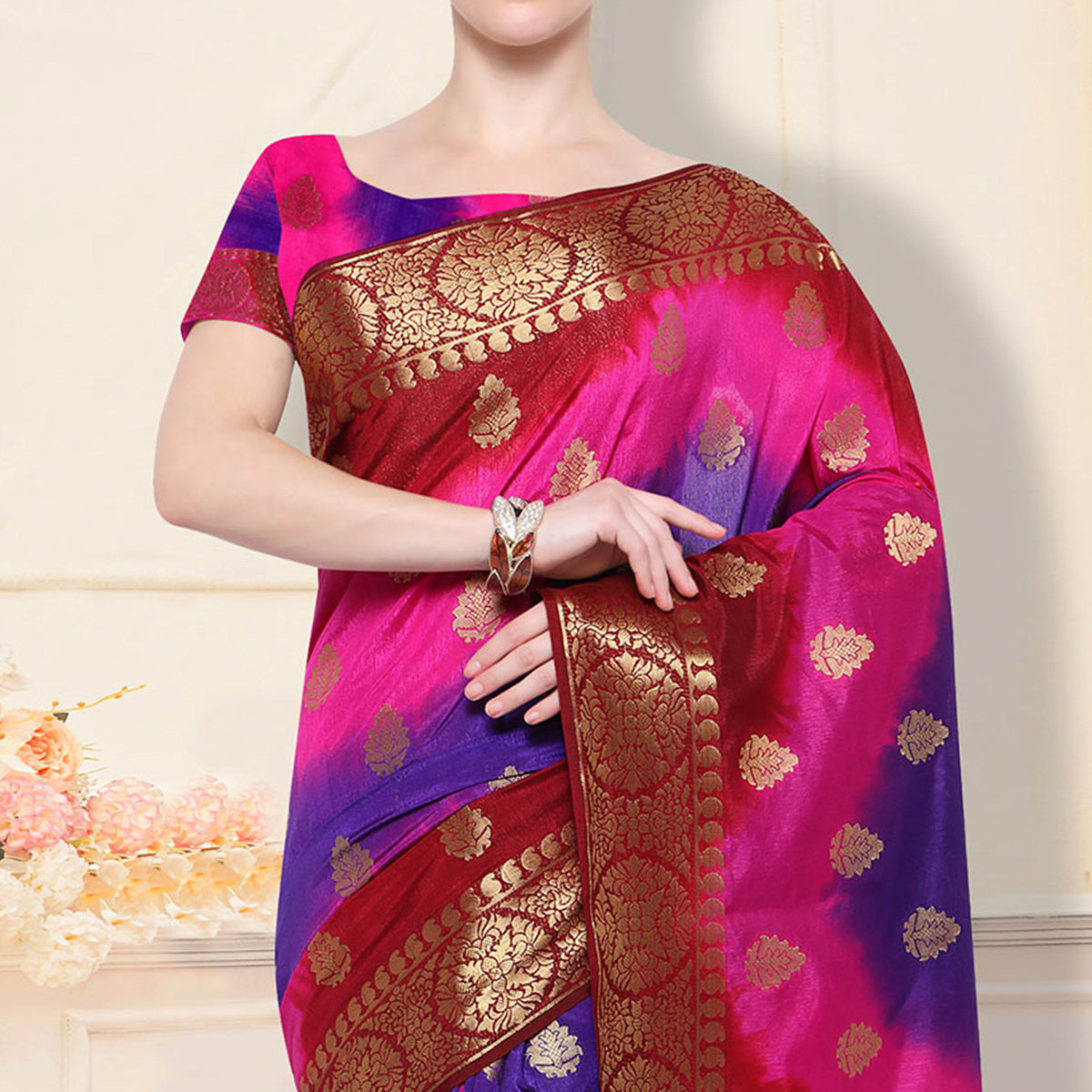 Trendy Magenta - Purple Designer Raw Silk Saree