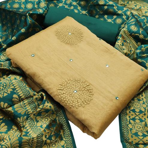 Exotic Beige - Green Colored Partywear Embroidered Chanderi Silk Dress Material