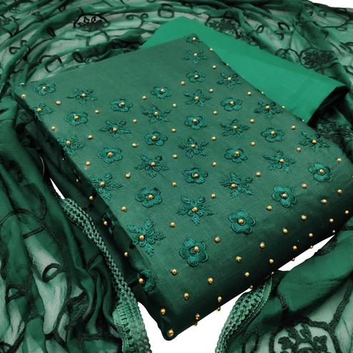 Elegant Dark Green Colored Partywear Embroidered Cotton Dress Material