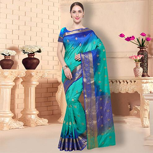 Ravishing Green - Blue Traditional Raw Silk Saree