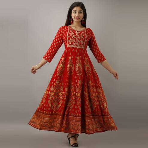 Pretty Red Colored Partywear Foil Printed Cotton Kurti