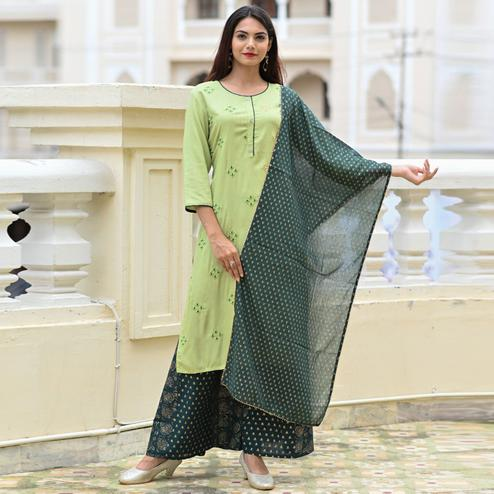 Sensational Green Colored Partwear Foil Printed Rayon Kurti-Palazzo Set With Dupatta