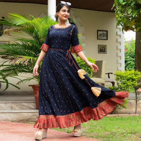 Classy Navy Blue Colored Partywear Foil Printed Cotton Kurti