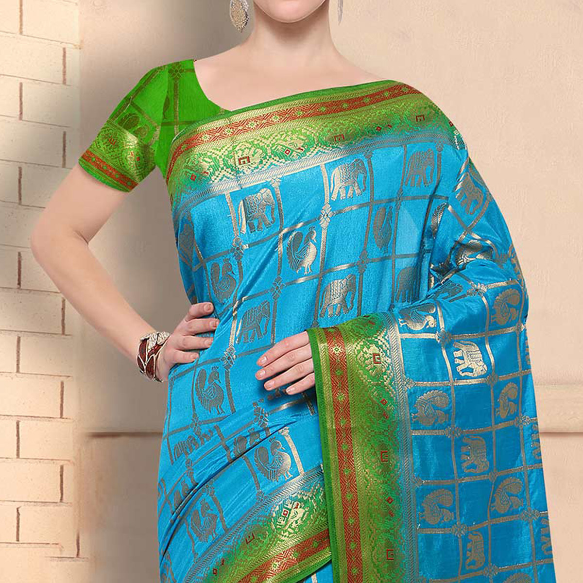 Eye Catching Sky Blue Festive Wear Silk Woven Saree