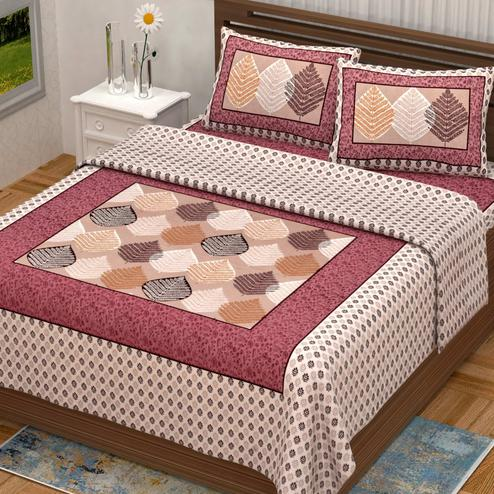 Appealing Pink Colored Booti Border Print Cotton Double Bedsheet with 2 Pillow Cover