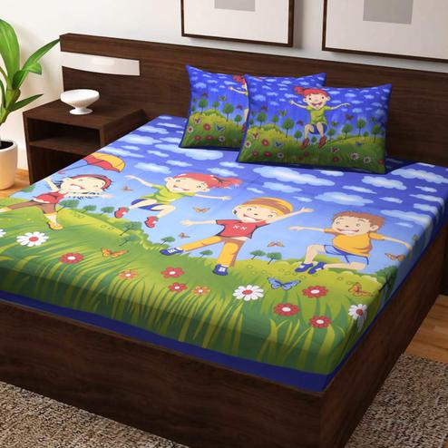 Capricious Blue Colored Cartoon Print Cotton Double Bedsheet with 2 Pillow Cover