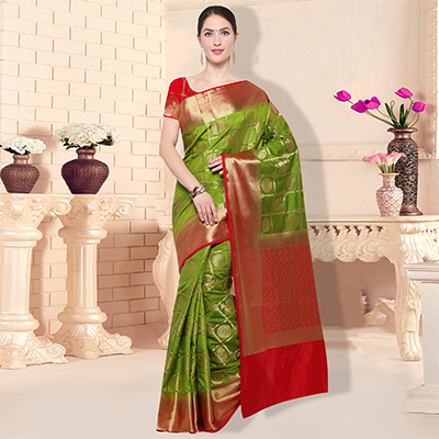 Delightful Olive Green Traditional Wear Raw Silk Saree