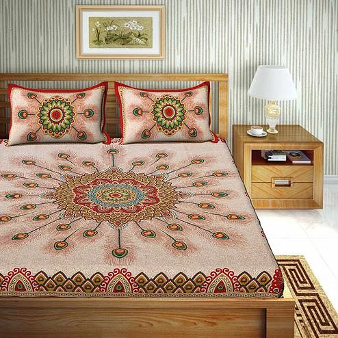 Trendy Red Colored Floral Print Cotton Double Bedsheet with 2 Pillow Cover